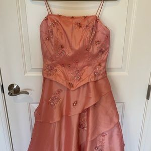 Bicici formal gown, pink rose, beads